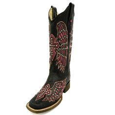 Corral Black & Pink Wing Cross Square Toe Boot A1143 $279.95