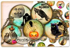 PRINTABLE DOWNLOAD / Instant Download Halloween - Cabochon images Printable images - Digital Circles - 4 Sizes