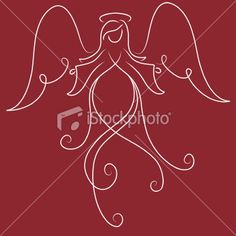 Vector illustration of an angel. Angel Vector, Angel Artwork, Angel Drawing, Silhouette Painting, Ange Demon, Angel Crafts, Angel Pictures, Christmas Drawing, Printable Designs