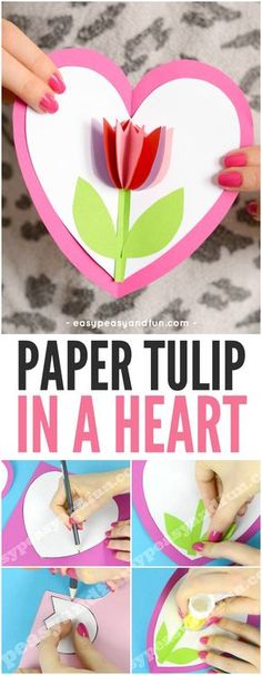 Tulip in a Heart Card Valentines Day Craft for Kids #valentinesdaycraftsforkids #papercrafts #heartcrafts