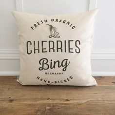 This Bing Cherry pillow cover is a perfect addition to your home! Cozy up your living space with our handmade linen pillow covers by So Vintage Chic! // sovintagechic.com