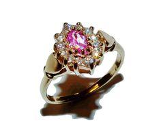 Fully Hallmarked 9ct Yellow Gold, Pink & White Gem Set Cluster Ring (UK Size N)