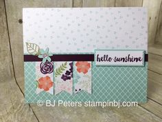 Hello Sunshine is the February 2016 Paper Pumpkin Kit.  Love it!  9 cards with decorated envelopes!  This is one of the alternate projects I provided to my Paper Pumpkin subscribers.