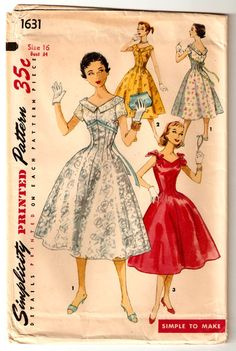 """S1631 ©1956; Teen Age One-Piece Dress: This versatile """"Simple To Make"""" dress fits and flatters beautifully. It's particularly lovely as a date or special-occasion dress. It features a wide, V neckline in front and back. View 1 shows dress with collar, short, set-in sleeves and ribbon trim. View 2 shows sleeveless dress with collar. View 3, sleeveless dress, has bows at the shoulder."""