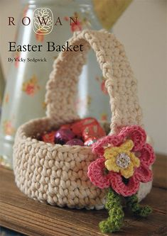 What brings this simple little Easter basket together, is the addition of the pretty flower embellishment!  I like this basket, because of it's simplistic look, the color, and the fact that it can be