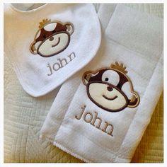 #etsy CarolinaMonogramCo Polka Dot Monkey Bib & Burp Cloth Set by CarolinaMonogramCo