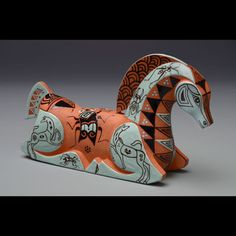 """Horse in Meditation"" by Mariko Swisher  4"" x 7.5"" x 2""   Medium: Terracotta tea pot with lid"