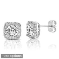 e1bbdfec6 Collette Z Sterling Silver Clear Cubic Zirconia Square Halo Stud Earrings