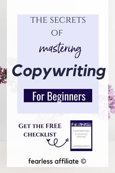 Copywriting for Beginners by Fearless Affiliate. Learn the secrets of mastering copywriting, which is writing to make sales. Get my FREE checklist to help you master this skill and get that click! Content Marketing, Affiliate Marketing, Email Marketing, Digital Marketing, Writing Tips, Writing Skills, Copywriting, Lead Generation, Online Business