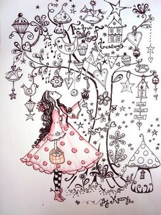 Drawing Doodles Ideas I like this page. A drawing of your Self looking up into a tree full of things that you love. Tangle Doodle, Doodles Zentangles, Zen Doodle, Zentangle Patterns, Doodle Art, Drawn Art, Arte Sketchbook, Doodle Inspiration, Doodle Drawings