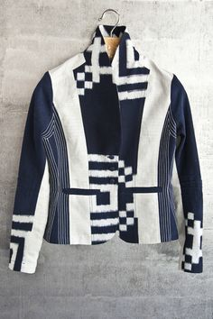 Taylor jacket, boldly mixed vintage and new fabrics. $1995. Vintage Japanese ikat cotton, vintage embroidered cotton and new linen.