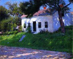 Roadside Cottage, Oil On Canvas by Dennis Miller Bunker (1861-1890, United States)