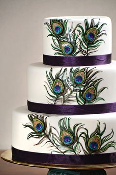 peacock indian wedding cake - Peacock Cake via Utah Valley 360