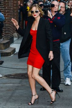 Arriving at The Late Show with David Letterman - HarpersBAZAAR.com