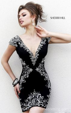 Black Beads 2014 Sherri Hill Homecoming Dress 32031