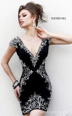 Black Beads 2014 Sherri Hill Homecoming Dress 32031