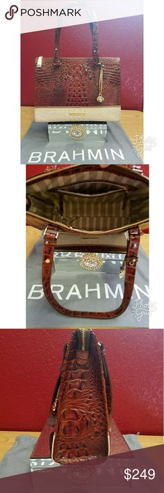 🍉🌞Brahmin Anywhere Tote Tri Color Pecan Beautiful Tri Color Pecan tote is in perfectly fine condition has NO ODORS!! The bag is 13 3/4 inches in length, 10 depth 1/2 inches in height.  Bag comes with Registration Cards Brahmin Bags Totes