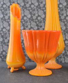 Vintage Orange Glass Vases Bittersweet Slag Vases LE by KOLORIZE