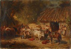 """Józef Brandt, """"Popas czumaków pod karczmą"""", 1865, olej na płótnie, 39,3 x 56,3 cm, ze zbiorów Muzeum Okręgowego w Tarnowie, nr inw. MT-A/M/25 (źródło: materiały prasowe organizatora)"""