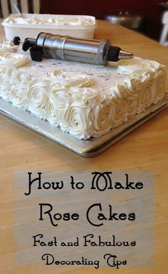 How to make Rose Cakes- fast decorating tips; This looks great with one large round rose covered cake on the bottom, a smooth round in the center & a small rose on top. Frosting Recipes, Cake Recipes, Baking Recipes, Canned Frosting, Cake Icing, Cupcake Cakes, Mini Cakes, Cake Decorating Tips, Cookie Decorating