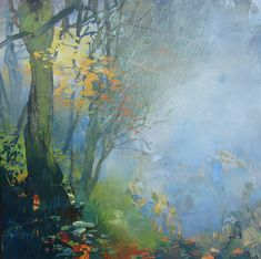 "RANDALL DAVID TIPTON, artist, ""Above Tryon Creek"", watermedia on yupo, 12x12"
