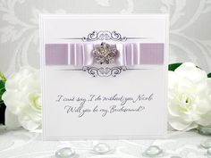 Luxury Will You Be My Bridesmaid Handmade Personalised Card Will You Be My Bridesmaid Gifts, Personalized Bridesmaid Gifts, Bridesmaid Cards, Ribbon Colors, All The Colors, Card Stock, Color Schemes, Envelope, Place Card Holders