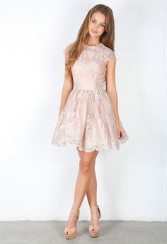 Short Gowns With Sleeves - Gowns are fast becoming Fashionista 's' selection. It has attained a standing of trend dress tha Leighton Meester, Short Lace Dress, Short Dresses, Dama Dresses, Peach Dresses, Midi Dresses, Pink Dress, Cap Dress, Fantasy Dress