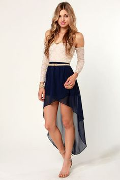 Navy blue and white dress with belt