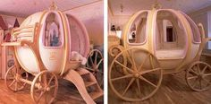 This fanciful coach bed is every little princess's dream! With construction and delivery time of six months, this dream can come true at $47,000. But, let's not begrudge over its price and only revel in its beauty..!