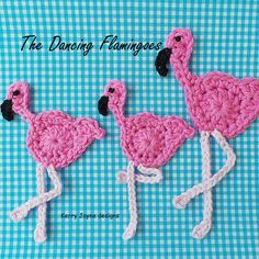 The Dancing Flamingoes!!! CROCHET PATTERNThis little flamingo motive is just so adrable! It can be used to decorate bags, hats, scarves, blankets and clothes, i