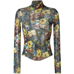 Jean Paul Gaultier Vintage Roll Neck Floral Sweater ($510) ❤ liked on Polyvore featuring tops, sweaters, multicolour, colorful sweaters, vintage tops, long sleeve sweaters, colorful tops and vintage sweater