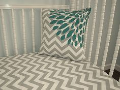 Fitted Crib Sheet Toddler Bedding Grey Chevron by IronAndThread, $31.00