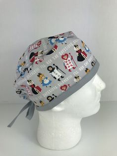 Alice in Wonderland Skull Cap – Oksana's Creations Surgical Caps, Scrub Hats, Drip Dry, Alice In Wonderland, Scrubs, Hand Sewing, Classic Style, Skull, Sewing By Hand