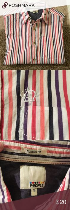 Men's button up shirt This is in excellent used condition! Size 39 button up shirt by People. Stripes are black, white, pink, red and purple. Shirts Casual Button Down Shirts