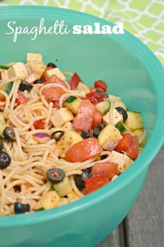 Potluck Spaghetti Salad Recipe by About A Mom ~ shared on Brag About It link party (every Monday at Midnight) on VMG206. #VMG206