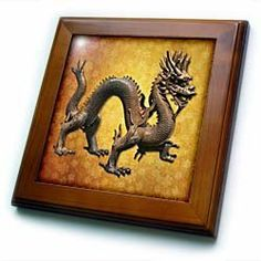 """Chinese Dragon - 8x8 Framed Tile by Boehm. $22.99. Keyhole in the back of frame allows for easy hanging.. Dimensions: 8"""" H x 8"""" W x 1/2"""" D. Cherry Finish. Inset high gloss 6"""" x 6"""" ceramic tile.. Solid wood frame. Chinese Dragon Framed Tile is 8"""" x 8"""" with a 6"""" x 6"""" high gloss inset ceramic tile, surrounded by a solid wood frame with predrilled keyhole for easy wall mounting.. Save 15% Off!"""