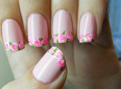 Love these precious pink roses on the tips of these pink nails!!! Very girly!!!