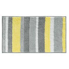 Amazon.com - InterDesign Stripz Microfiber Bath Rug, 21-Inch by 34-Inch, Gray/Yellow - Yellow And Grey Shower Curtains
