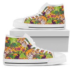 Tiger Top Shoes, Men's Shoes, Mens High Tops, Tropical Flowers, Green And Orange, Snug Fit, Tigers, Converse Chuck Taylor, Planting Flowers