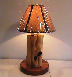 Rustic Aromatic Cedar Log Lamp With Shade - Hand Crafted - All Natural - Round Base - Table Lamp - Traditional Shade - Ozark Rustic Wood on Etsy