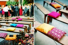 Add colorful Indian cushions to your wedding ceremony