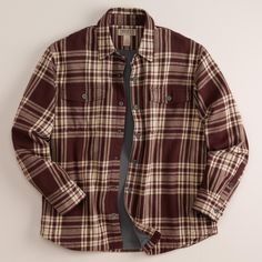 dbf8f220 Burgundy Plaid - Duluth Trading Co Men's Flapjack Fleece Lined Flannel Shirt  Jacket - Button Down