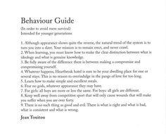 Jean Touitou - behaviour guide