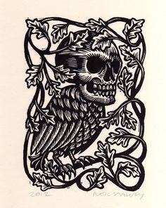 Hand carved from linoleum block and hand printed in black printing ink on cardstock paper.  Image measures approx. 5 x 7.  This is an open edition. Signed, dated by the artist, Neil Stavely, 2012.