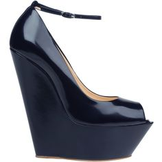 Giuseppe Zanotti - Peep-toes shoes in blue brushed calfskin with detachable ankle strap and covererd maxi wedgel