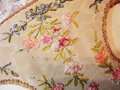Exquisite antique ribbon embroidery. Appears to be a double picture frame.