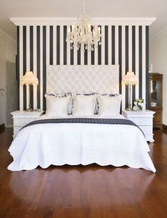 ♡ stripes, tufted headboard & chandelier
