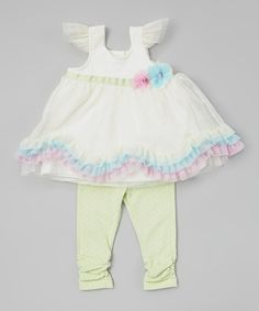 Look at this #zulilyfind! Light Green Ruffle Tunic & Leggings - Infant by Nannette Baby #zulilyfinds