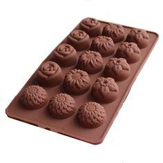 Bakeware Silicone flores em forma de cozimento de moldes para a geléia de bolo de Chocolate - café
