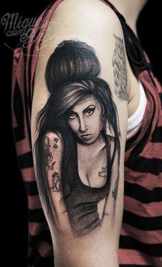 Amy Winehouse portrait tattoo
